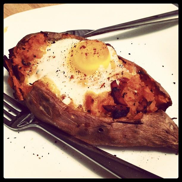 Last night's dinner. Baked sweet potato stuffed with a mash of chorizo ...